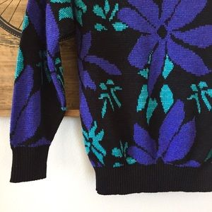 Vintage Sweaters - Vintage 80s Sparkle Floral Sweater